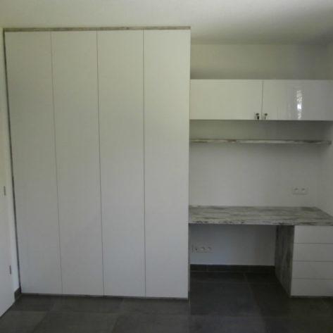 Bureau avec plan de travail, armoire et caisson blanc laqué