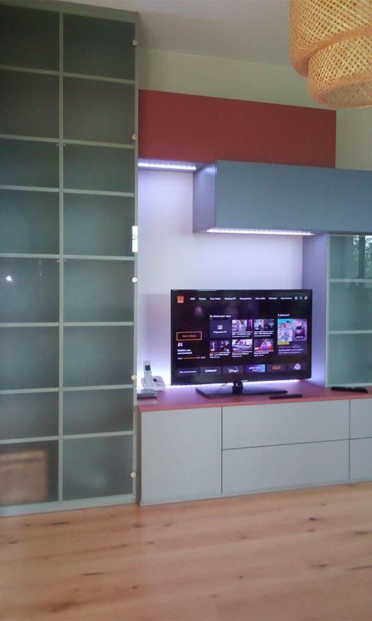 meuble living sur mesure avec support télé
